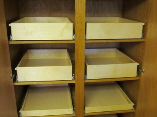 Roll Out Shelving For Custom Sized Cupboards and Cabinets.