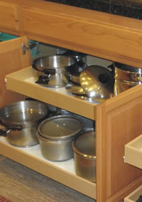 Roll Out Shelving For Pots, Pans And Other Heavy Items.