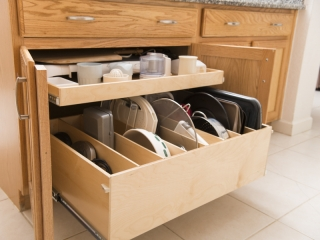 Roll Out Shelving With Dividers For Organizing